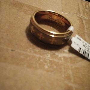 Men's Silver & Rosegold Tungsten Wedding Band
